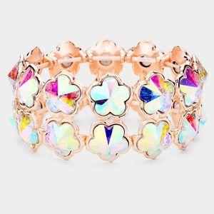 Colorful Crystal Cluster Flower Stretch Bracelet